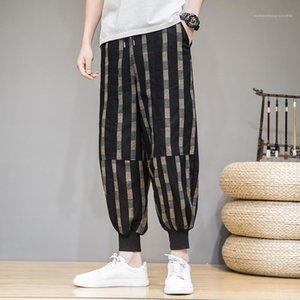 Erkek Tasarımcı Casual Pantolon Erkek Ekose Baskılı Harem Pantolon Günlük hip hop tarzı Moda Pantolon Loose