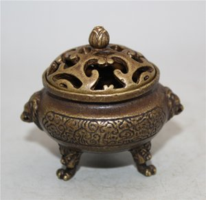 Chinese Archaize Copper Handwork Exquisite A19 queimador de incenso pequeno