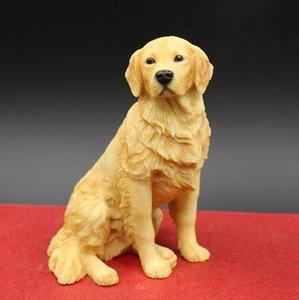 Sitting Golden Retriever Simulation Dog Figurine Crafts Handmade Carved Arts Decoration Figurine Crafts with Resin for Home Decoration