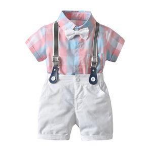 INS baby kids Set di abbigliamento da uomo Romper + Short a maniche corte Plaid Stampa Turn Down Collar Con Papillon Set Pagliaccetto Bambini di alta qualità