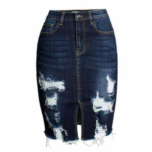 Jupes en denim moulantes déchirées pour femmes, jupe crayon mi-longue sexy pour femme, jupe portefeuille