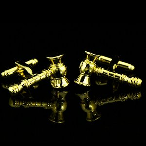 Fiesta de la boda de los hombres de negocios franceses camisas Gemelos Gemelos Judge Hammer regalos de cumpleaños de oro