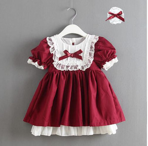 IN STOCK Christmas Retail 2020 Girl Lace Bow Bridesmaid Spain dresses Princess Luxury kids dress Spainish Baby clothes
