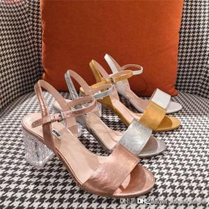 2019 последние босоножки, металлизированные женские туфли из натуральной кожи, специальный прозрачный каблук Высота 6 см