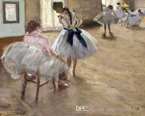 A Lição de Balé De Edgar Degas Pintado À Mão Retrato Impressionista Pintura A Óleo Da Arte Da Lona de Alta Qualidade Home Decor Wall Art p214