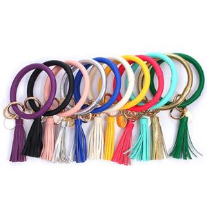 Leather Bracelet Key Chain PU Wrist Key Ring Tassel Pendant Wristbands Sports Keychain Bracelets Bangle Round Rings Party Favor GGA2577