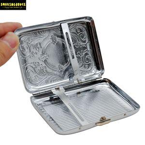 Metal caso de cigarrillos (69 * 95MM) Holding 12 cigarrillos tamaño normal (85 mm * 8 mm) Boquilla Tabaco Caso caja con 2 clips de fumar en pipa