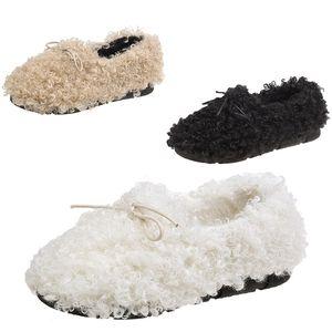 Целая продажа мех обувь женской 2020 осени новая продажа дропшиппинг лук плоского горох обувь бежевого ленивый теплый плюс бархат обувь размер 35-40
