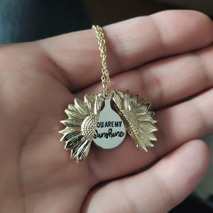 14K Gold Plated You are My Sunshine Necklace Sunflower Locket Engraved Necklace Pendant for Women Men Girls