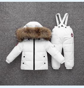 Sıcak Satış Erkekler Kızlar Bebekler Karikatür kalınlaşır İçin Çocuk Ördek Aşağı Ceket tulumları Suit snowsuit Giyim Seti İçin Winter Warm