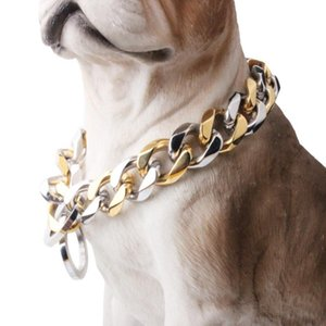 "10 12 15 17 19MM Strong Heavy Stainless Steel Silver Color Gold Curb Cuban Dog Chain Pet Collar Choker Necklace 12""-34"" Hotsale"