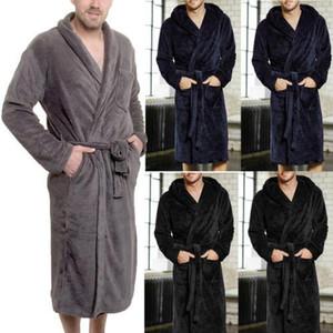 L'hiver chaud Robes hommes en peluche Châle Peignoir Allongé Kimono Accueil Vêtements Robe manches longues Manteau homme déshabillé