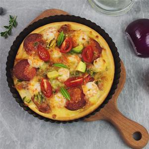 Yapışmaz Tart Kiş Flan Pan Kalıplar Pie Pizza Kek Yuvarlak Kalıp Çıkarılabilir Gevşek Alt Yivli Pizza Pan Bakeware 8.8 In JK1911