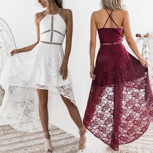 Cocktail Party Sleeveless Short Mini Dress 2020 Women Sexy Casual O Neck Spaghetti Strap Solid Lace Dress Red White