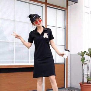 Kadınlar Marka Polo Elbiseler Bayan Casual Modelleri Bayan moda Polo Yaka Gömlek Kısa Kollu İnce Elbise Sevimli Ayı Marka Spor Elbise