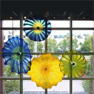 Бестселлер ручной выдувного муранского стекла настенные тарелки Цветок Дизайн Mouth выдувное стекло настенные светильники Многоцветный Подвесные плиты Wall Art