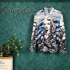 2019 França Paris início do outono mais recentes explosões grafite retrato impressão digital de alta qualidade designer de moda masculina top camisa de seda