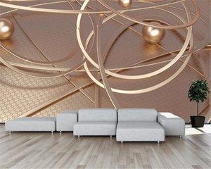 Modern Home Decoration Wallpaper European Golden Abstract Line Geometric 3D Background Wall Interior Silk Mural Wallpaper