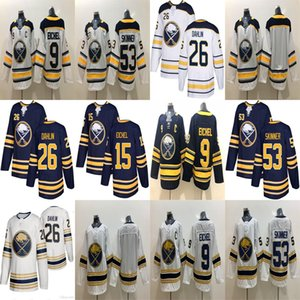 Buffalo Sabres Jerseys Golden 50th Season 9 Jack Eichel 53 Jeff Skinner 26 Rasmus Dahlin 15 Jack Eichel Classic Hockey Jerseys Stitched