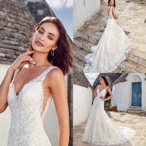Eddy K 2019 Mermaid abiti da sposa abiti da sposa in pizzo pieno scollo a V Backless Sweep treno Plus Size Boho Beach Abito da sposa