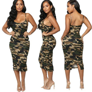 Moda Sexy Mulheres Vestido Casual Sem Mangas Bodycon Camuflagem Impressão Clubwear Vestido de Verão Sundress Tamanho Verde S-2XL