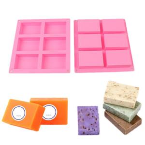 6 Cavity Silicone molde para fazer sabão Plain Sabões 3D Mold Retângulo DIY Handmade Soap Form bandeja Mold
