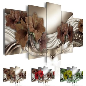 Fashion Wall Art Canvas Painting 5 Pieces Red Brown Green Diamond Lilies Flower Modern Home Decoration,No Frame T200703