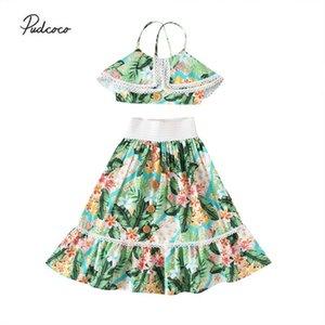 Pudcoco 2020 Criança Bebés Meninas Roupas Define Flores Imprimir Ruffles mangas Lace Vest Tops + Boho Saias 1-6Y