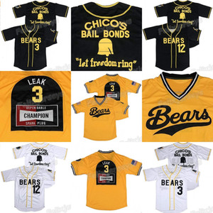 3 Kelly Leak 12 Tanner Boyle Bad News Bears 1976 Chico's Bail Bonds Movie Baseball Jersey White Black Stitched