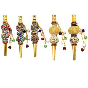 Colorful Handmade Inlaid Jewelry Alloy Hookah Mouth Tips Shisha Chicha Filter Tip Hookah Mouthpiece Mouth Tips Smoking Accessories Free Shi