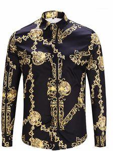 Impresión en cadena para hombre de la vendimia camisas de lujo de la solapa del cuello de manga larga Tops ocasionales de los hombres camisetas del diseñador de moda de oro
