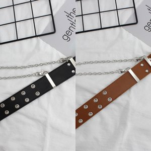Women's hip-hop wide outfit student outfit iron ring chain double row hole belt student decorative belt