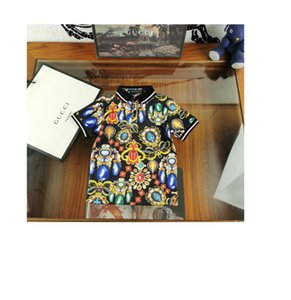 Short Sleeve Pure Cotton cute T-shirt boys Summer lapel High quality printed T-shirt 030909