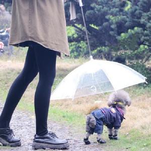 Suprimentos para animais de Estimação Portátil Limpar PE Dog Guarda-chuva Universal Filhote de Cachorro Invertido Guarda-chuvas Com Longo Conforto Lidar Com