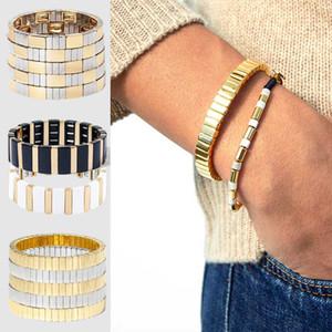GERADE FEEL Gold-Silber-Farben-Stretch-Armband-Armbänder für Frauen-Emaille-Tile stapelbare Armband Stulpe-Armbänder Männer Schmuck Geschenk