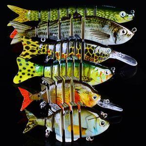 New 6Pcs Set 1x 8 1x6 Sections Fishing Lure 6# 8# Fishing Hook Swimbait Fishing bait Artificial Bass Baits