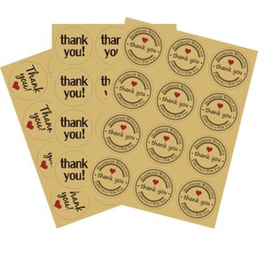 Thank You Seal Sticker Kraft Paper Handmade Shop Gift Package Seal Label Christmas Thanksgiving Wed Gift Box Decoration