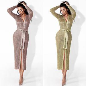 Kadın Tasarımcı Maxi Elbiseler Giysileri Sıcak Satış Gül Altın Örgü Ceket Avrupa ve Amerika Seksi Hollow Hırka Uzun Ceket