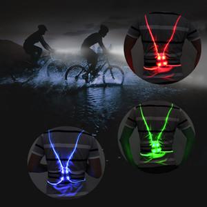 Universal Unisex anjo de asa Visibilidade fibra LED Segurança noite óptica que andar de bicicleta cor colete luminoso reflexivo colete