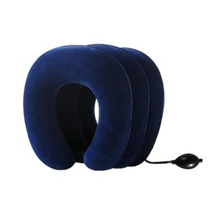 Air Inflatable Pillow Cervical Neck Head Pain Traction Support Neck Brace Device Unit for Headache Back Shoulder (sapphire)