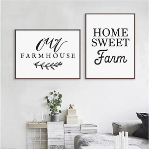 Paintings Home Sweet Farm Calligraphy Canvas Art Print , Our Farmhouse Painting Country Kitchen Decor