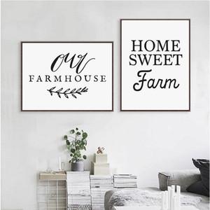 Home Sweet Farm Kalligraphie Leinwand Kunstdruck, Unser Bauernhof Kunstdruck Leinwand-Malerei Country Farm Küchen-Dekor