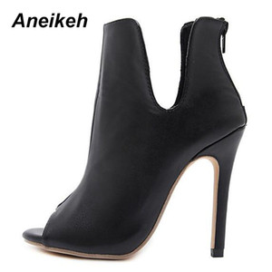 Hot Sale-Aneikeh New Design Women Boots Black Open Toe High Heels Shoes Spring Autumn Woman Ankle Boots Size 35 - 40 938-119#