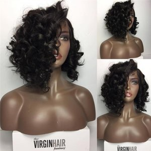 Short Bob Free Parting Glueless Full Lace Wigs Peruvian Human Hair Lace Front Wig Loose Wave No Shedding With Natural Hairline