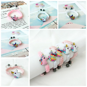 Unicorn Knitting Bracelet 5 Syles Kids Animals Accessories Baby Girl Cute Jewelry Pendant Chain Gift For Children RRA2263