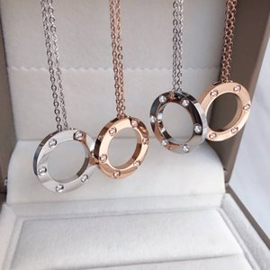 Rose gold Pendant Necklace Titanium Steel Love Pendant Party Wedding Necklace Classical Never Fade Fashion Jewelry Without box
