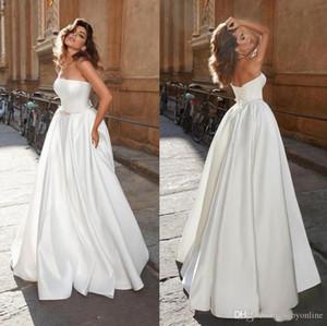 Abito da sposa senza spalline Moderna 2020 Semplice Progettato raso corsetto posteriore Lace-up Abiti da sposa low cost Robe de mariée
