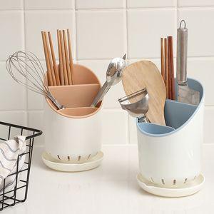 Multi-Function Chopsticks Colher de drenagem cremalheira pauzinhos tubo Titular Cozinha Talheres de armazenamento