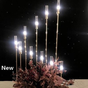 Metal Candlesticks Flower Vases Candle Holders Wedding Table Centerpieces Candelabra Pillar Stands Party Decor Road Lead EEA484-a
