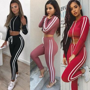 2019 2Pcs Womens Autumn Hoodies Sports Tops Pants Set Yoga Long Sleeve Sexy Tracksuit Sweatshirt Sweat Suit